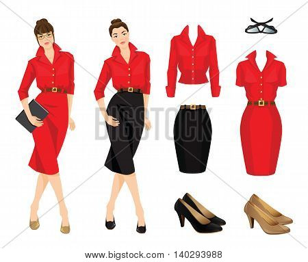 Vector illustration of women in black skirt, red formal dress and blouse isolated on white background.