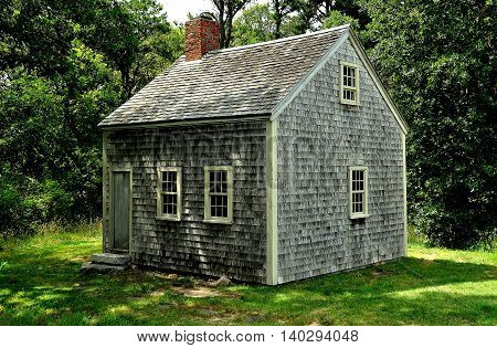 Brewster Massachusetts- July 14 2015: c. 1795 Harris-Black House thought to be the last one-room home on Cape Cod at the 18th century Higgins Farm