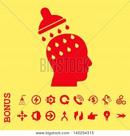 Brain Washing glyph icon. Image style is a flat iconic symbol, red color, yellow background.
