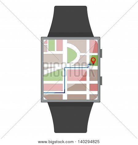 Smart Watch. Navigation. Cartoon Style. Flat Element. Vector Illustration.