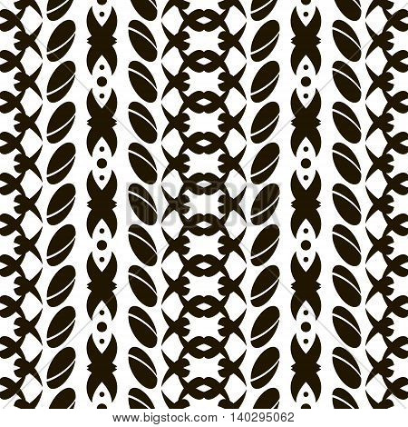 Abstract seamless black and white pattern. Unusual ornament with large divided ovals and crisscrossing rounded shapes. Vector illustration for creative design