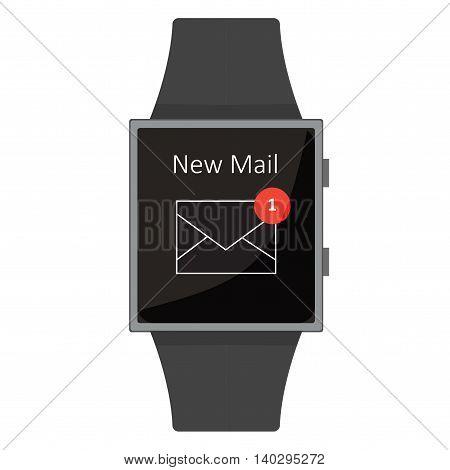Smart Watch. New Mail. Cartoon Style. Flat Element. Vector Illustration.