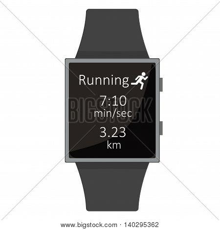 Smart Watch. Run For Health. Cartoon Style. Flat Element. Vector Illustration.