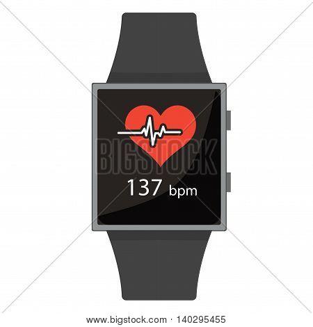 Smart Watch. Heart Rate. Cartoon Style. Flat Element. Vector Illustration.