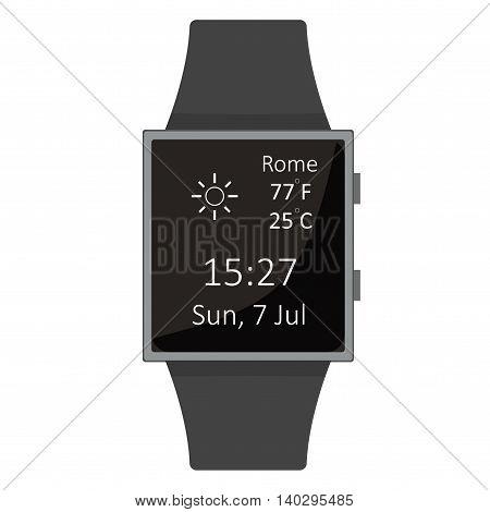 Smart Watch. Sun Widget. Cartoon Style. Flat Element. Vector Illustration.