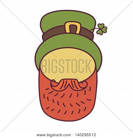 St. Patrick s Day greeting. Vector illustration.Flat design icon on Saint Patrick s Day character leprechaun with green hat, red beard. No face.
