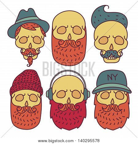 Skull hipster Hand Drawn isolated on white background.Skull with Hipster hair, cap, headphones, mustache and beards, fashion color vector illustration Set.Retro design, badge, emblem, logo, logotype, tattoo