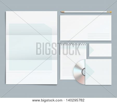 Vector corporate identity templates. Letterhead envelope business card pencils Cd.