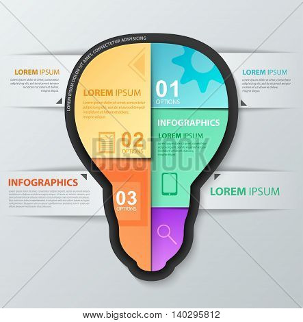 Infographic vector lightbulb design template. Report template with icons. Workflow layout diagram number options web design.