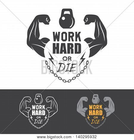 Fitness vector label for flayer poster logo or t-shirt print with lettering hands chain and dumbbell.