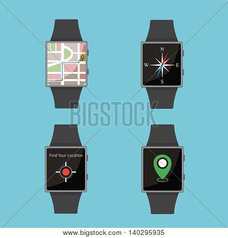 Smart Watch.icon Set. Cartoon Style. Flat Elements. Blue Background.