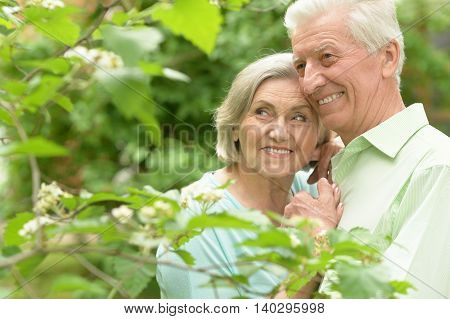 Happy mature couple in a spring park