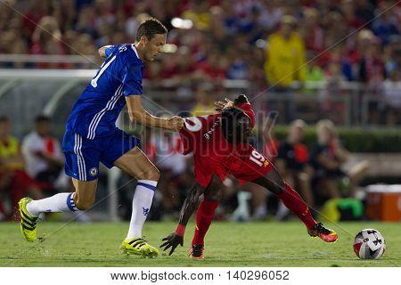 PASADENA, CA - JUNE 4: Sadio Mane & Nemanja Matic during the 2016 ICC game between Chelsea & Liverpool on July 27th 2016 at the Rose Bowl in Pasadena, Ca.