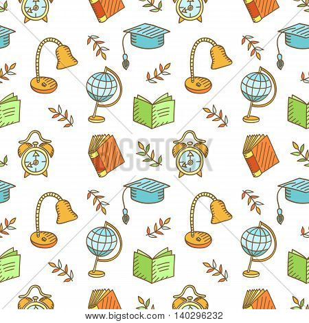 Seamless school pattern. Hand drawn School or Science Supplies, Sketchy Doodles Elements, Vector Illustration