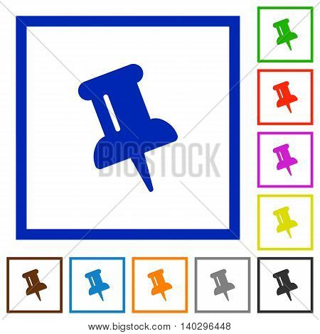 Set of color square framed Push pin flat icons