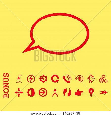 Hint Cloud glyph icon. Image style is a flat iconic symbol, red color, yellow background.