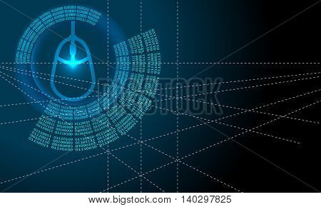 Vector abstract background with circular binary code and mouse