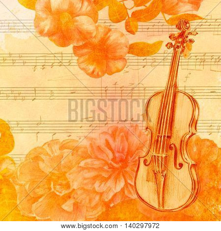 A vintage style collage golden toned with an old violin copyspace watercolor camellias and roses a butterfly and toned sheet music in the background