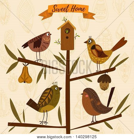 Lovely Autumn Concept Card Made Of Leafs And Birds In Vector. Floral Background In Vintage Style