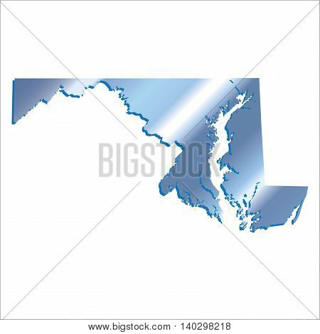 3D Maryland (USA) Iridium Blue Boundary map with shadow