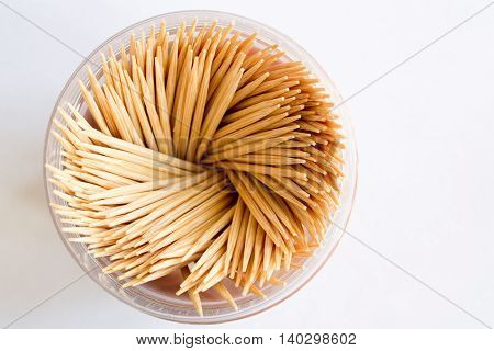 Toothpicks In The Package On White Background