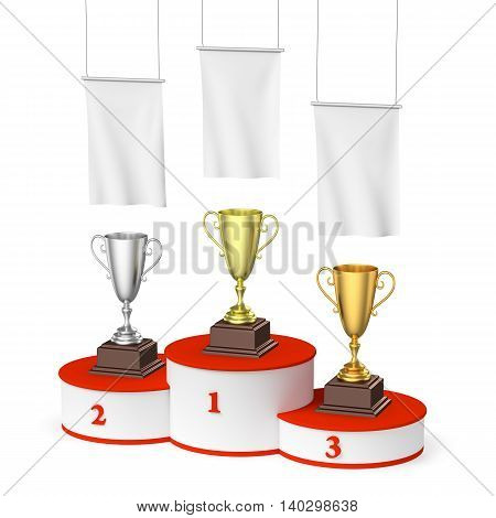 Winners Podium With Trophy Cups And Blank White Flags, Right Top View