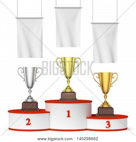 Round Winners Podium, Trophy Cups And Blank White Flags Front View