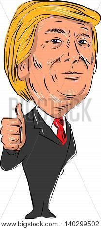 July 28, 2016: Illustration showing Republican candidate for president 2016 Donald John Trump thumbs up on isolated white background done in cartoon style.