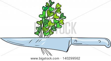 Drawing sketch style illustration of a knife with microgreen vegetables set on isolated white background.