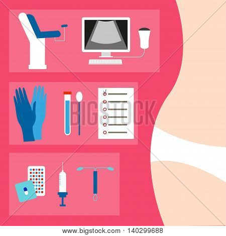 Medical equipment for gynecology, pills and gynaecological instruments and the female body in underwear in the background
