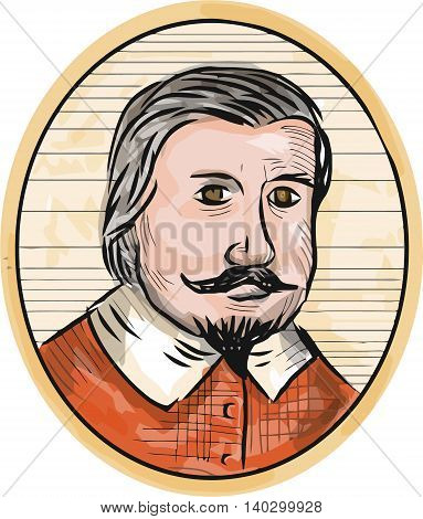 Illustration of a Medieval aristocrat gentleman with beard and moustache facing front set inside oval shape done in retro woodcut style.