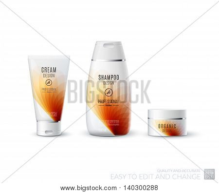 Abstract body care cosmetic brand concept. Tube cream, shampoo packaging. Realistic vector identity set template in red tones for beauty, medicine, healthcare. Design layout. Chrome metal line.
