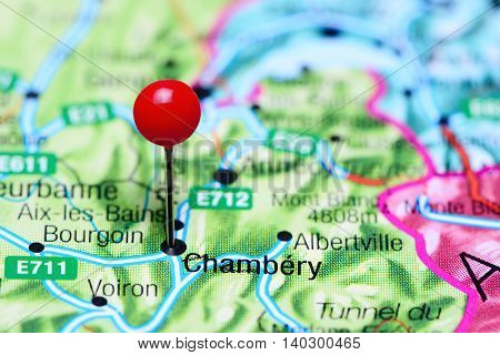 Chambery pinned on a map of France