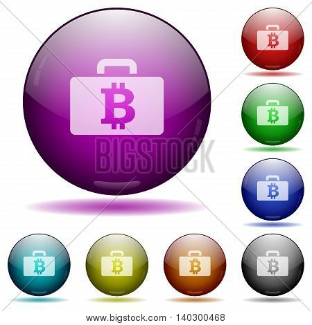 Set of color Bitcoin bag glass sphere buttons with shadows.