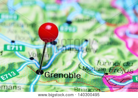 Grenoble pinned on a map of France