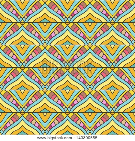 Seamless pattern with handdrawn abstract ornament. Colored stripped background