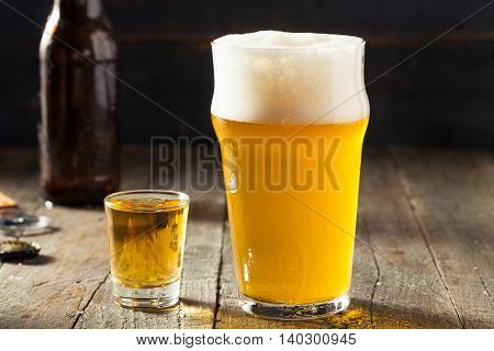 Refreshing Beer And Whiskey Shot Boilermaker
