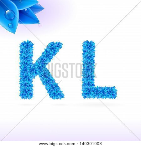 Sans serif font with blue leaf decoration on white background. K and L letters