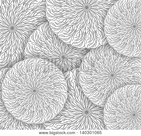 Vector monochrome background with round mandala patterns