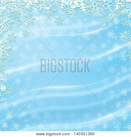 Vector blue winter background with shiny wavy lines and white snowflakes
