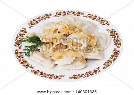 Ukrainian dumplings with fried cabbage on plate on white background isolated