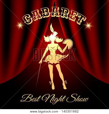 Burlesque dancer silhouette against red curtains and lettering Cabaret.