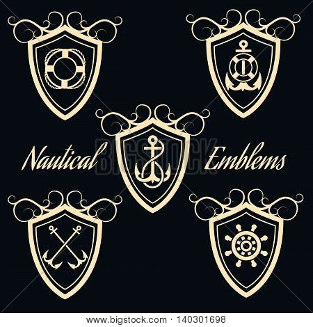 Set Nautical Badges And Labels with anchors and steering wheel. Isolated on black