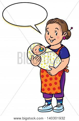 Children vector illustration of funny smiling woman, nanny or mother with a baby. Profession ABC series. With balloon for text.