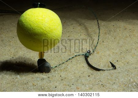 KD pop up rig Underwater. Carp Hook Boilies Underwater. Carp fishing hook Underwater