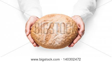 Human hands with bread closeup isolated on white background
