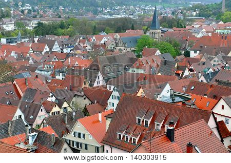 Panorama of Tubingen, Baden-Wuerttemberg, Germany. Lots of red tiled roofs in perspective.