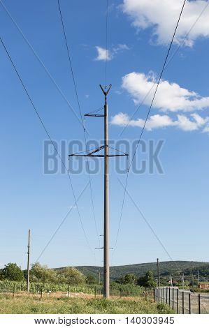 High Voltage Electricity Line Station Against Blue Sky