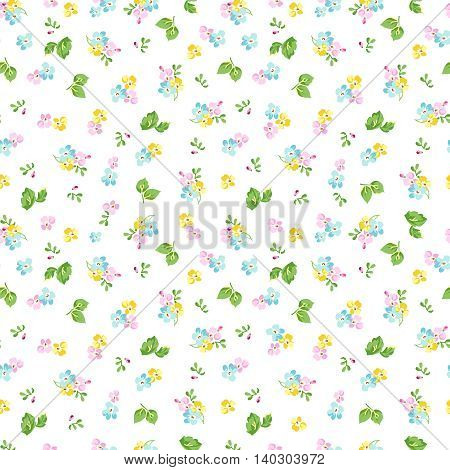 Seamless floral pattern with small blue flowers