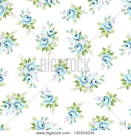 Seamless floral pattern with blue little rose